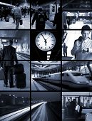 Conceptual image-grid: commuters are travellng hours every day from home to office and return. They