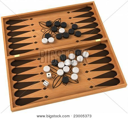 Top View Of Backgammon With Chips And Dice