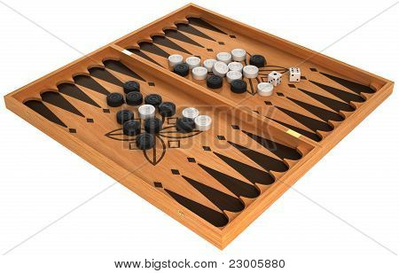 Leisure: Backgammon With Chips And Dice Isolated