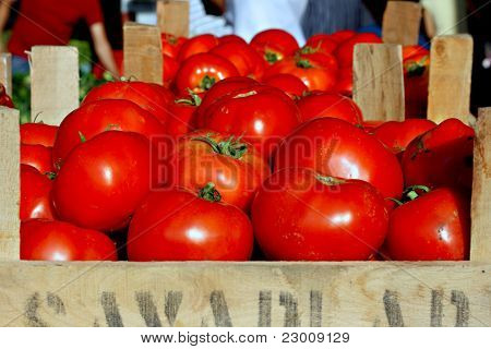 Close up of box of ripe tomatoes