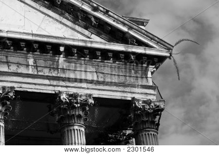 Proud Classical Architecture: Detail Of An Old Neoclassical Building In Venice.