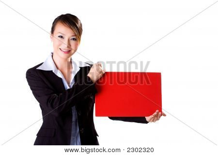Happy Business Woman Holding A Red Card