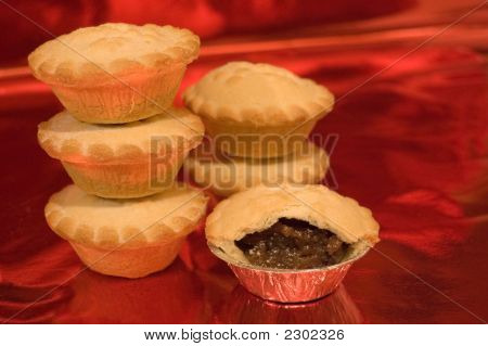 Mince Pies On Red Background