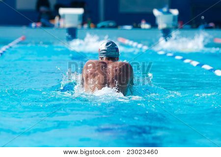 Rear View Of A Swimmer
