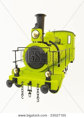 Green old steam train