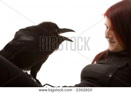 Young Woman With Black Raven