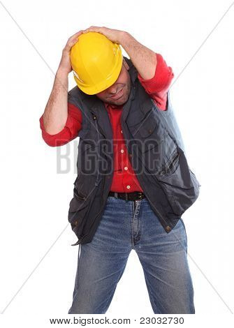 Frustrated male worker on a white background.