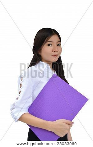 Business Woman With Document File