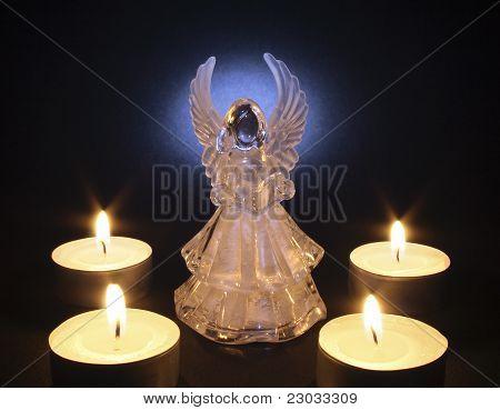 angel with tea lights