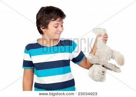 Adorable Boy Picking Up A Teddy Bear