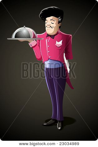 Vector Male Waiter in Dark Grey Background