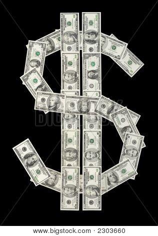 Símbolo de dólar de várias contas de dinheiro
