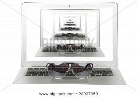 Modern Popular Light Laptop Thin With Sun Glasses