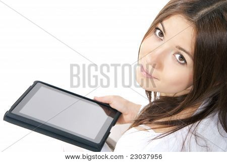 Woman Holding In Hand New Electronic Tablet Touch Pad