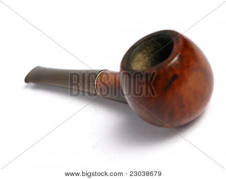 Elegant wood Pipe on white background