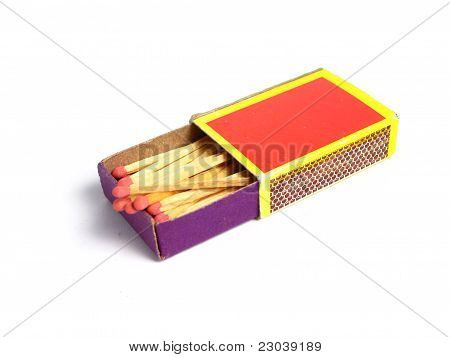 Box of matches on white background