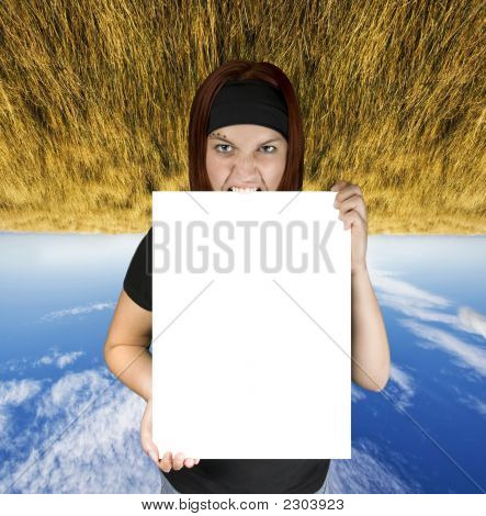 Angry Girl Holding A White Canvas