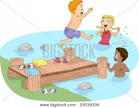 Illustration of Kids Swimming