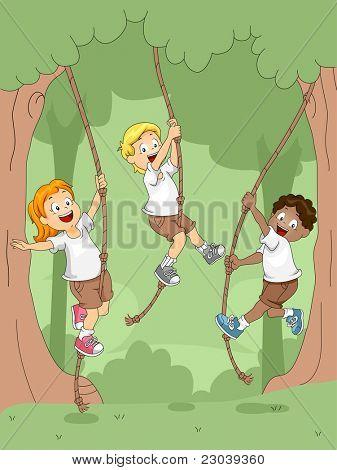 Ilustração de crianças balançando com cordas
