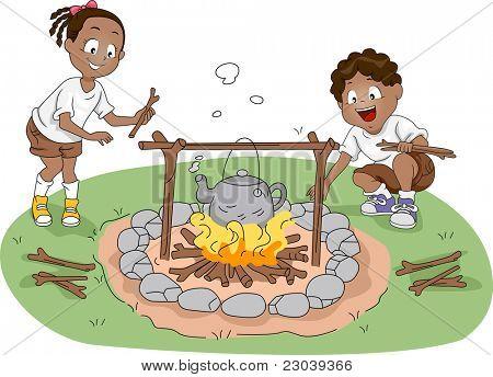 Ilustração de campistas / irmãos água fervente
