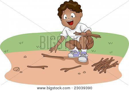 Ilustração de uma lenha de encontro Kid