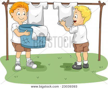 Ilustração de crianças roupa pendurada para secar