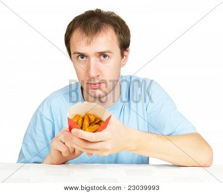 Man Eats French Fries Isolated On White