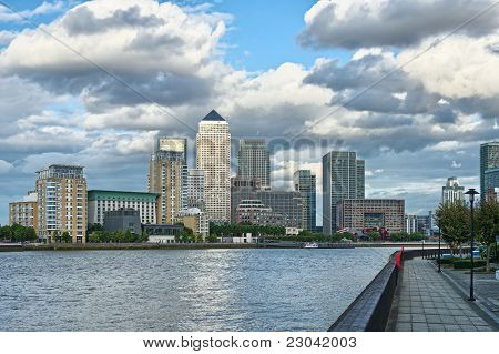 Canary Wharf, London, England, Uk, Europe, Looking Across The River Thames