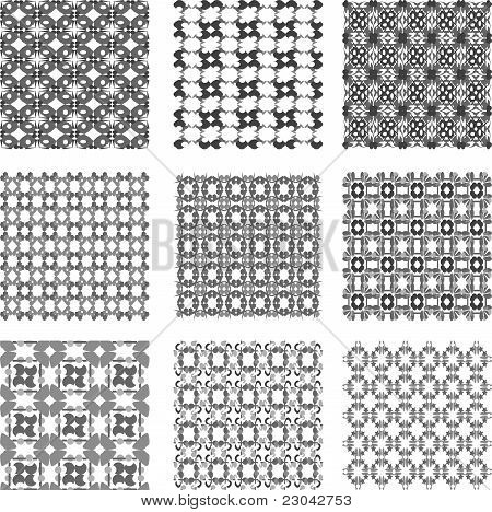 Set black and white geometric patterns background
