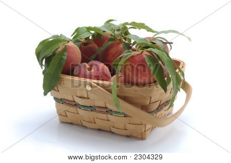 Basket Of Fresh Peaches