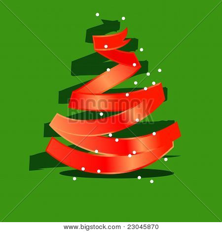Stylized christmas tree made of red ribbon