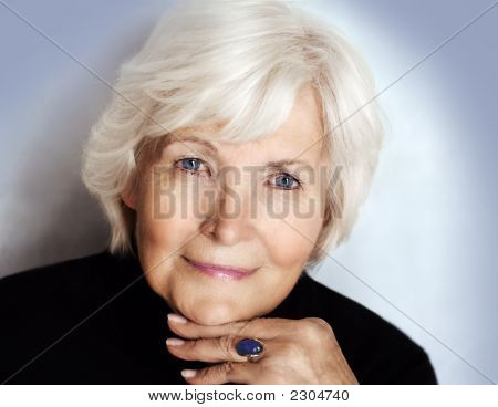 Senior Lady With Polo Neck