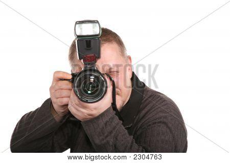 Fotógrafo isolado no branco 3