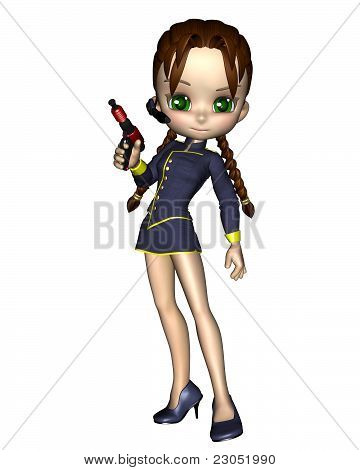 Cute Toon Female Starship Officer