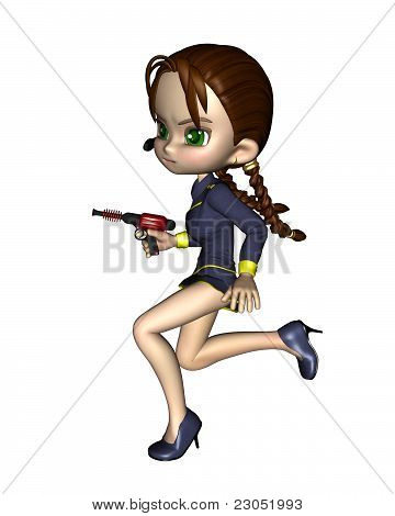 Cute Toon Female Starship Officer - running
