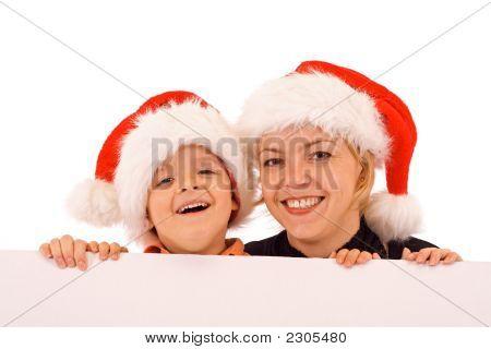 Santas Behind White Banner