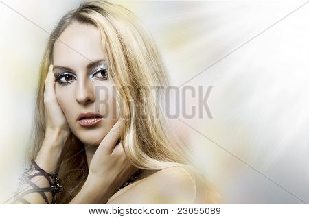 Fashion Portrait Of Young Beauty Woman Face.