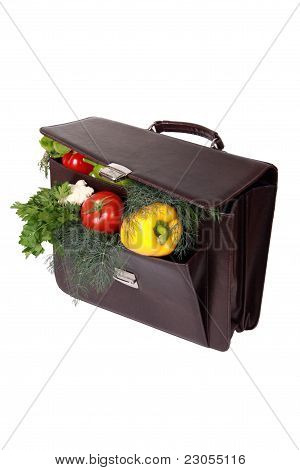 Brown Briefcase With Ripe Fresh Vegetables