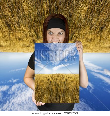 Angry Girl Holding A Travel Canvas