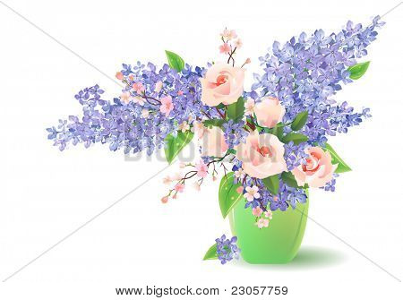 Bunch of lilac and rose