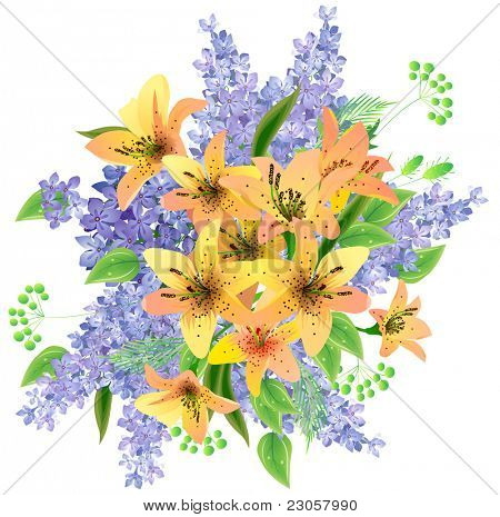Bunch of yellow lilies and lilac