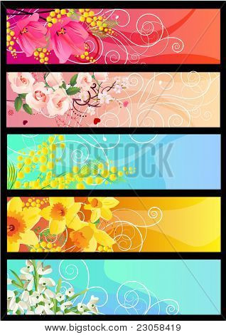 Five beautiful spring floral colorful horizontal banners