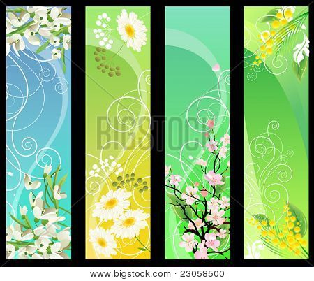 Four different beautiful vertical floral banners