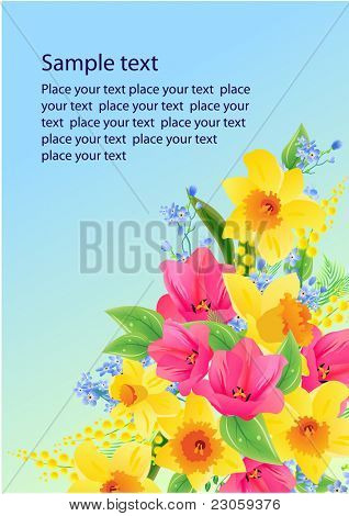 Floral vector background with tulips and daffodils