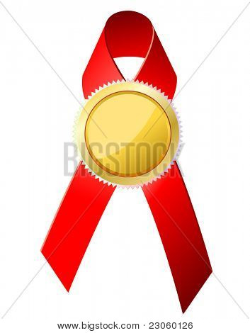 Gold badge with red ribbon. Vector.