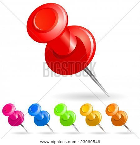 Vector illustration of push pin collection
