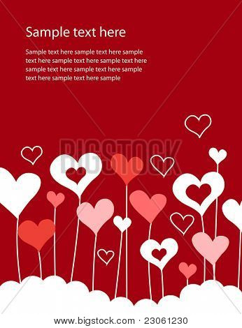 Background with growing hearts