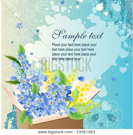 Greeting card with box full of blue flowers