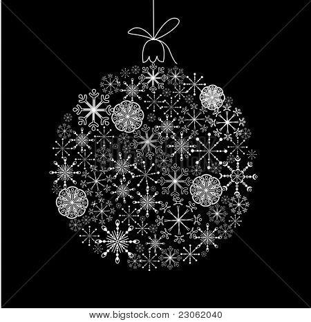 Black and White Christmas ball illustration.