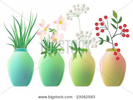Set of ceramic jars with plants. Raster version. Vector version is in my gallery.